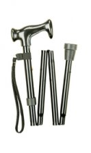 Black 4 Fold Economy Walking Stick