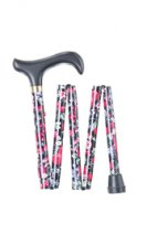 Fruits Pattern Print 5 Fold Wood Handle Walking Stick