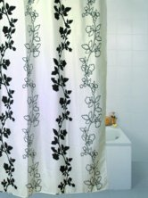 Black Flower Polyester Shower Curtain