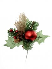 Christmas Pinecone Jute Pick Red Artificial Flowers