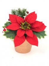 Christmas Poinsettia and Berries in Pot Artificial Flowers