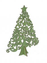 Christmas Wooden Tree with Star Green