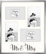 "Happily Ever After Silverplated Collage Photo Frame ""Mr & Mrs"""