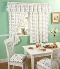 Spot Chocolate & Lime Kitchen Curtains