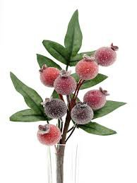 Frosted Pomegranate Pick Artificial Flowers