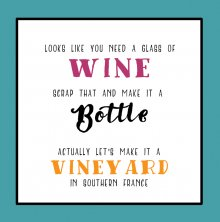 Tinkture Wine Bottle Vineyard Birthday Greetings Card