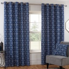 Kelso Navy Eyelet Ready Made Curtains