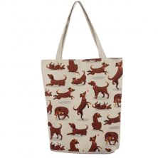 Catch Patch Dog Design Cotton Bag With Zip and Lining