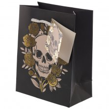 Metallic Skulls & Roses Gift Bag