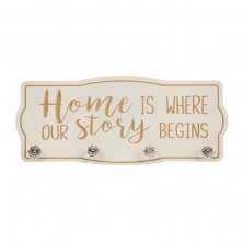 Love Life Wall Plaque with Hooks Home is Where Our Story