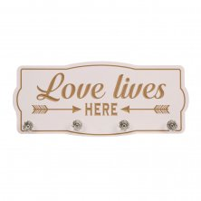 Love Life Wall Plaque with Hooks Love Lives Here