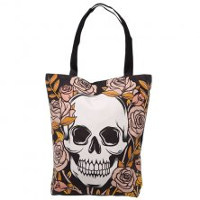 Skulls & Roses Cotton Bag with Zip and Lining
