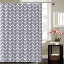 Chevron Grey Blue Canyon Polyester Shower Curtain
