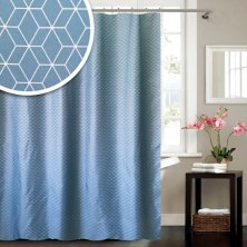 Geometric Blue Canyon Polyester Shower Curtain