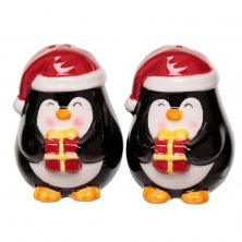 Christmas Penguin Ceramic Salt and Pepper Set