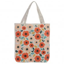 Zip Top Poppy Fields Cotton Bag