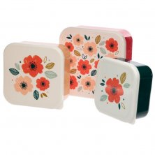 Set of Three Lunch Boxes - Poppy Fields