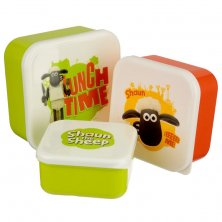Set of 3 Shaun the Sheep Plastic Lunch Boxes