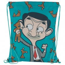 Mr Bean with Teddy Cartoon Drawstring Bag