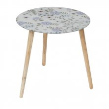 Floral Glass Table With Wooden Legs