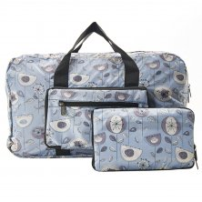 Eco Chic Lightweight Foldable Holdall 1950's Grey Flower