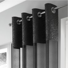 Black Madeira Eyelet Voile Panel