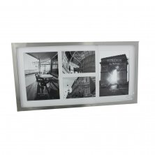 Rectangular Impressions Large Plain Silver Plated 4 Aperture Photo Frame
