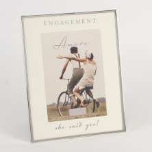 "Amore Silverplated Photo Frame ""She Said Yes!"""