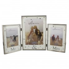 "Amore Silverplated Triple Hinged Photo Frame ""Mr and Mrs"""