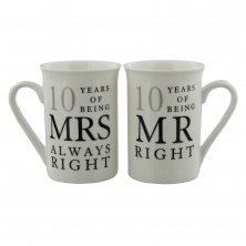 Amore 10 Years of Mr & Mrs Right 10th Anniversary Mug Set