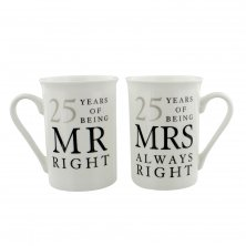 Amore 25 Years of Mr & Mrs Right 25th Anniversary Mug Set