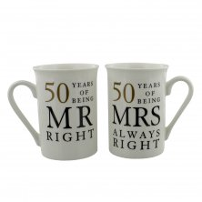 Amore 50 Years of Mr & Mrs Right 50th Anniversary Mug Set