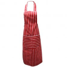 Red Butchers Stripe Apron