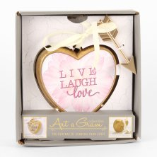 Art A Gram Heart Plaque Live, Laugh, Love