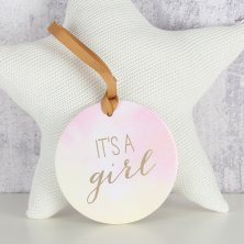 "Round Hanging Plaque ""It's a Girl"""