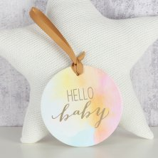 "Round Hanging Plaque ""Hello Baby"""
