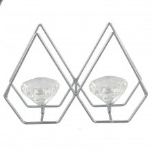 Hestia Chrome Double Diamond Tea Light Holder