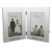 Amore Silverplated Double Frame 50th Anniversary