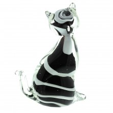 Juliana Objets d'art Glass Black and White Cat Figurine