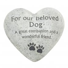 Beloved Dog Graveside Memorial Heart Plaque