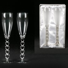 Silverplated Champagne Flutes With Row of Hearts Stem