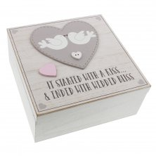 "Love Story Square Keepsake Box ""It Started With A Kiss"""