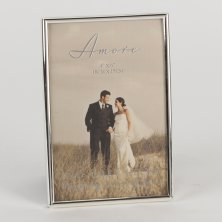 "Amore Silverplated Thin Frame 4x6 ""Happily Ever After"""