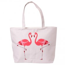 Zipped Flamingo Cotton Shopping/Beach Bag