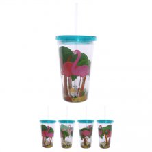 Flamingo Double Walled Cup with Straw & Lid