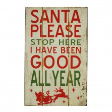 Santa Please Stop Here Wall Plaque