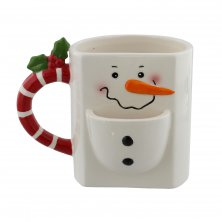 Snowman Christmas Mug with Cookie Holder
