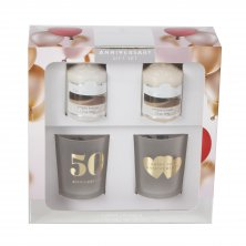 Colonial Candle Votive & Holder 50th Anniversary Gift Set