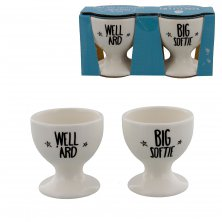 "Set of 2 Eggcellent ""Big Softie & Well 'Ard"" Egg Cups"