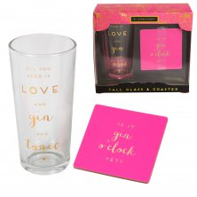 By Appointment Glass & Coaster - Love, Gin and Tonic